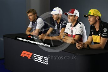 World © Octane Photographic Ltd. Formula 1 – Italian GP - FIA Drivers' Press Conference. Williams Martini Racing - Sergey Sirotkin, Racing Point Force India - Esteban Ocon, Alfa Romeo Sauber F1 Team- Charles Leclerc and Renault Sport F1 Team – Nico Hulkenberg. Autodromo Nazionale di Monza, Monza, Italy. Thursday 30th August 2018.