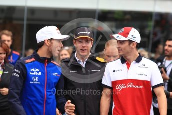 World © Octane Photographic Ltd. Formula 1 – Italian GP - Drivers Parade. Scuderia Toro Rosso STR13 – Pierre Gasly, McLaren MCL33 – Stoffel Vandoorne and Alfa Romeo Sauber F1 Team C37 – Charles Leclerc. Autodromo Nazionale di Monza, Monza, Italy. Sunday 2nd September 2018.