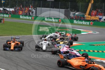 World © Octane Photographic Ltd. Formula 1 – Italian GP - Race. Alfa Romeo Sauber F1 Team C37 – Charles Leclerc, Renault Sport F1 Team RS18 – Nico Hulkenberg and McLaren MCL33 – Stoffel Vandoorne. Autodromo Nazionale di Monza, Monza, Italy. Sunday 2nd September 2018.