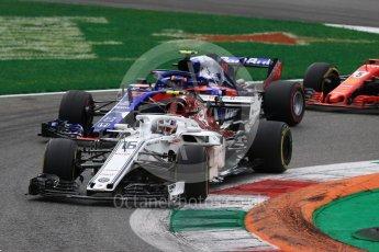World © Octane Photographic Ltd. Formula 1 – Italian GP - Race. Alfa Romeo Sauber F1 Team C37 – Charles Leclerc and Scuderia Toro Rosso STR13 – Pierre Gasly. Autodromo Nazionale di Monza, Monza, Italy. Sunday 2nd September 2018.
