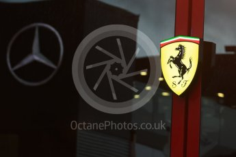 World © Octane Photographic Ltd. Formula 1 – Italian GP - Paddock. Scuderia Ferrari logo with Mercedes AMG Petronas Motorsport refection. Autodromo Nazionale di Monza, Monza, Italy. Friday 31st August 2018.
