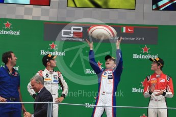 World © Octane Photographic Ltd. GP3 – Italian GP - Race 1. Trident - David Beckmann, ART Grand Prix - Callum Ilott and Anthoine Hubert. Autodromo Nazionale di Monza, Monza, Italy. Saturday 1st September 2018.