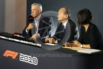 World © Octane Photographic Ltd. Formula 1 - Italian GP - Friday FIA Team Press Conference. Chase Carey - Chief Executive Officer of the Formula One Group and Takashi Yamamoto. Autodromo Nazionale di Monza, Monza, Italy. Friday 31st August 2018.