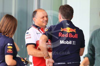 World © Octane Photographic Ltd. Formula 1 - Japanese GP - Paddock. Frederic Vasseur – Team Principal and CEO of Sauber Motorsport AG and Christian Horner - Team Principal of Red Bull Racing. Suzuka Circuit, Japan. Friday 5th October 2018.