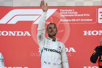 World © Octane Photographic Ltd. Formula 1 – Japanese GP – Podium. Mercedes AMG Petronas Motorsport AMG F1 W09 EQ Power+ - Lewis Hamilton. Suzuka Circuit, Japan. Sunday 7th October 2018.