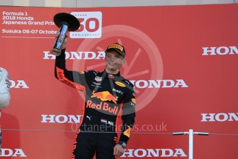 World © Octane Photographic Ltd. Formula 1 – Japanese GP - Podium. Aston Martin Red Bull Racing TAG Heuer RB14 – Max Verstappen. Suzuka Circuit, Japan. Sunday 7th October 2018.