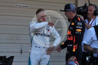 World © Octane Photographic Ltd. Formula 1 – Japanese GP – Parc Ferme. Mercedes AMG Petronas Motorsport AMG F1 W09 EQ Power+ - Valtteri Bottas and Aston Martin Red Bull Racing TAG Heuer RB14 – Max Verstappen. Suzuka Circuit, Japan. Sunday 7th October 2018.