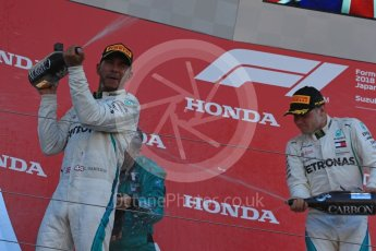 World © Octane Photographic Ltd. Formula 1 – Japanese GP – Podium. Mercedes AMG Petronas Motorsport AMG F1 W09 EQ Power+ - Lewis Hamilton and Valtteri Bottas. Suzuka Circuit, Japan. Sunday 7th October 2018.