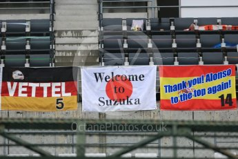 World © Octane Photographic Ltd. Formula 1 – Japanese GP – Fans' Vettel; and Alonso flags in the main grandstand. Suzuka Circuit, Japan. Thursday 4th October 2018.