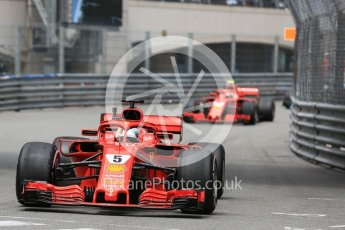 World © Octane Photographic Ltd. Formula 1 – Monaco GP - Practice 1. Scuderia Ferrari SF71-H – Sebastian Vettel and Kimi Raikkonen. Monte-Carlo. Thursday 24th May 2018.