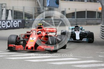World © Octane Photographic Ltd. Formula 1 – Monaco GP - Practice 1. Scuderia Ferrari SF71-H – Kimi Raikkonen and Mercedes AMG Petronas Motorsport AMG F1 W09 EQ Power+ - Lewis Hamilton. Monte-Carlo. Thursday 24th May 2018.