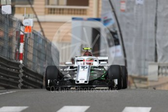World © Octane Photographic Ltd. Formula 1 – Monaco GP - Practice 1. Alfa Romeo Sauber F1 Team C37 – Charles Leclerc. Monte-Carlo. Thursday 24th May 2018.