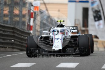 World © Octane Photographic Ltd. Formula 1 – Monaco GP - Practice 1. Williams Martini Racing FW41 – Sergey Sirotkin. Monte-Carlo. Thursday 24th May 2018.