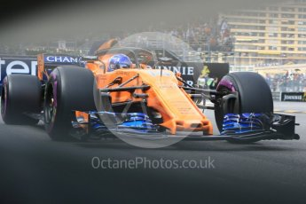 World © Octane Photographic Ltd. Formula 1 – Monaco GP - Practice 2. McLaren MCL33 – Fernando Alonso. Monte-Carlo. Thursday 24th May 2018.