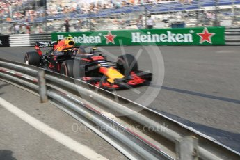 World © Octane Photographic Ltd. Formula 1 – Monaco GP - Practice 2. Aston Martin Red Bull Racing TAG Heuer RB14 – Max Verstappen. Monte-Carlo. Thursday 24th May 2018.