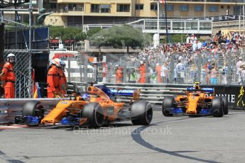 World © Octane Photographic Ltd. Formula 1 – Monaco GP - Qualifying. McLaren MCL33 – Fernando Alonso and Stoffel Vandoorne. Monte-Carlo. Saturday 26th May 2018.