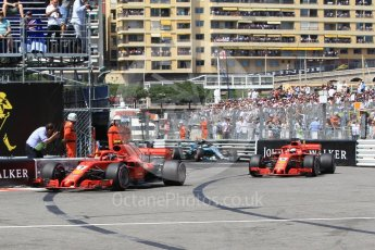 World © Octane Photographic Ltd. Formula 1 – Monaco GP - Qualifying. Scuderia Ferrari SF71-H – Kimi Raikkonen and Sebastian Vettel with Mercedes AMG Petronas Motorsport AMG F1 W09 EQ Power+ - Valtteri Bottas. Monte-Carlo. Saturday 26th May 2018.