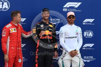 World © Octane Photographic Ltd. Formula 1 – Monaco GP - Qualifying. Aston Martin Red Bull Racing TAG Heuer RB14 – Daniel Ricciardo, Scuderia Ferrari SF71-H – Sebastian Vettel and Mercedes AMG Petronas Motorsport AMG F1 W09 EQ Power+ - Lewis Hamilton. Monte-Carlo. Saturday 26th May 2018.