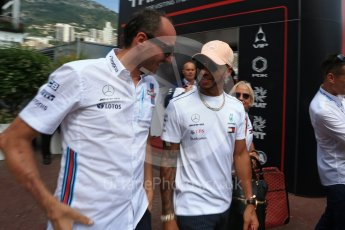 World © Octane Photographic Ltd. Formula 1 – Monaco GP - Paddock. Mercedes AMG Petronas Motorsport AMG F1 W09 EQ Power+ - Lewis Hamilton and Robert Kubica. Monte-Carlo. Sunday 27th May 2018.
