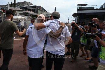 World © Octane Photographic Ltd. Formula 1 – Monaco GP - Paddock. Mercedes AMG Petronas Motorsport AMG F1 W09 EQ Power+ - Lewis Hamilton and Robert Kubica. Monte-Carlo. Sunday 27th May 2018.