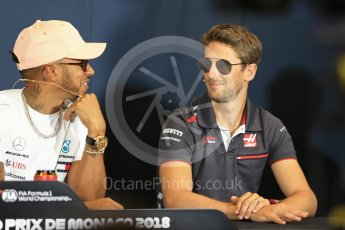 World © Octane Photographic Ltd. Formula 1 – Monaco GP –Drivers Press Conference. Mercedes AMG Petronas Motorsport - Lewis Hamilton, Haas F1 Team – Romain Grosjean. Monte-Carlo. Wednesday 23rd May 2018.