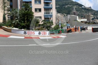 World © Octane Photographic Ltd. Formula 1 – Monaco GP - Setup. Fairmont Hotel hairpin corner. Monte-Carlo. Wednesday 23rd May 2018.