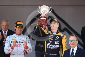 World © Octane Photographic Ltd. FIA Formula 2 (F2) – Monaco GP - Race 1 Podium. Russian Time - Artem Markelov. Monte Carlo. Friday 25th May 2018