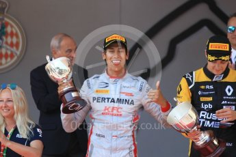 World © Octane Photographic Ltd. FIA Formula 2 (F2) – Monaco GP - Race 1 Podium. Prema Powerteam - Sean Gelael. Monte Carlo. Friday 25th May 2018.
