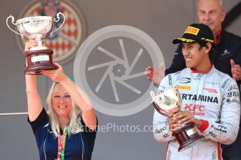 World © Octane Photographic Ltd. FIA Formula 2 (F2) – Monaco GP - Race 1 - Podium. Prema Powerteam - Sean Gelael. Monte Carlo. Friday 25th May 2018.