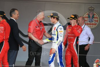 World © Octane Photographic Ltd. FIA Formula 2 (F2) – Monaco GP - Race 2. Carlin - Lando Norris and Charouz - Louis Delatraz. Monte Carlo. Saturday 26th May 2018.