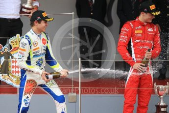 World © Octane Photographic Ltd. FIA Formula 2 (F2) – Monaco GP - Race 2. Charouz - Louis Delatraz and Carlin - Lando Norris. Monte Carlo. Saturday 26th May 2018.