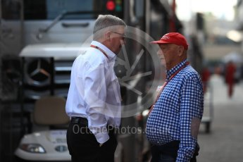 World © Octane Photographic Ltd. Formula 1 - Monaco GP - Paddock. Ross Brawn – Managing Director of Formula 1 for Liberty Media and Niki Lauda - Non-Executive Chairman of Mercedes-Benz Motorsport. Monte-Carlo. Saturday 26th May 2018.