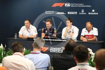 World © Octane Photographic Ltd. Formula 1 – Monaco GP – Team Personnel Press Conference. Zak Brown - Executive Director of McLaren Technology Group, Christian Horner - Team Principal of Red Bull Racing, Toto Wolff - Executive Director & Head of Mercedes-Benz Motorsport, Frederic Vasseur – Team Principal and CEO of Sauber Motorsport AG. Monte-Carlo. Thursday 24th May 2018.