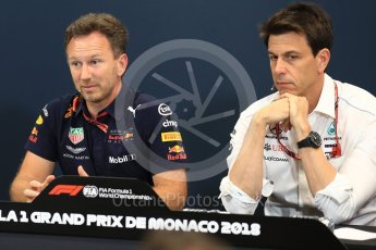 World © Octane Photographic Ltd. Formula 1 – Monaco GP – Team Personnel Press Conference. Christian Horner - Team Principal of Red Bull Racing and Toto Wolff - Executive Director & Head of Mercedes-Benz Motorsport. Monte-Carlo. Thursday 24th May 2018.
