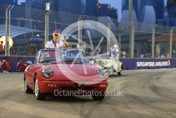 World © Octane Photographic Ltd. Formula 1 – Singapore GP - Drivers Parade. Alfa Romeo Sauber F1 Team C37 – Marcus Ericsson. Marina Bay Street Circuit, Singapore. Sunday 16th September 2018.