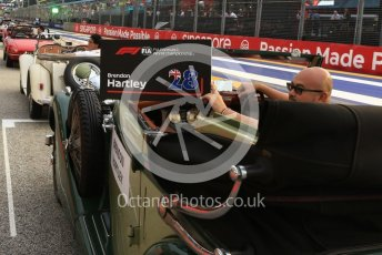 World © Octane Photographic Ltd. Formula 1 – Singapore GP - Drivers Parade. Scuderia Toro Rosso STR13 – Brendon Hartley. Marina Bay Street Circuit, Singapore. Sunday 16th September 2018.