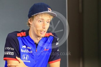 World © Octane Photographic Ltd. Formula 1 – Italian GP - FIA Drivers' Press Conference. Scuderia Toro Rosso – Brendon Hartley. Marina Bay Street Circuit, Singapore. Thursday 13th September 2018.