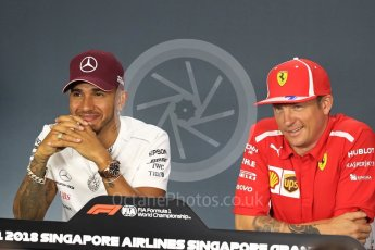 World © Octane Photographic Ltd. Formula 1 – Italian GP - FIA Drivers' Press Conference. Scuderia Ferrari - Kimi Raikkonen and Mercedes AMG Petronas Motorsport - Lewis Hamilton. Marina Bay Street Circuit, Singapore. Thursday 13th September 2018.