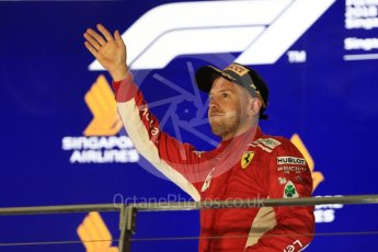 World © Octane Photographic Ltd. Formula 1 – Singapore GP - Race Podium. Scuderia Ferrari SF71-H – Sebastian Vettel. Marina Bay Street Circuit, Singapore. Sunday 16th September 2018.