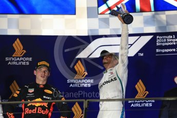 World © Octane Photographic Ltd. Formula 1 – Singapore GP – Race Podium. Mercedes AMG Petronas Motorsport AMG F1 W09 EQ Power+ - Lewis Hamilton and Aston Martin Red Bull Racing TAG Heuer RB14 – Max Verstappen. Marina Bay Street Circuit, Singapore. Sunday 16th September 2018.