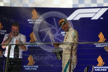 World © Octane Photographic Ltd. Formula 1 – Singapore GP – Race Podium. Mercedes AMG Petronas Motorsport AMG F1 W09 EQ Power+ - Lewis Hamilton. Marina Bay Street Circuit, Singapore. Sunday 16th September 2018.