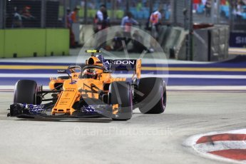 World © Octane Photographic Ltd. Formula 1 – Singapore GP - Race. McLaren MCL33 – Stoffel Vandoorne. Marina Bay Street Circuit, Singapore. Sunday 16th September 2018.