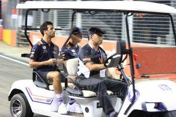 World © Octane Photographic Ltd. Formula 1 – Singapore GP - Thursday Pit Lane. Aston Martin Red Bull Racing TAG Heuer RB14 – Daniel Ricciardo and Max Verstappen. Marina Bay Street Circuit, Singapore. Thursday 13th September 2018.