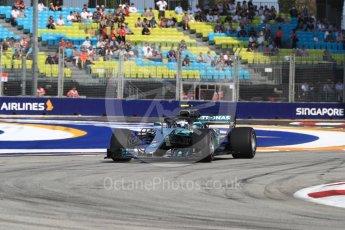 World © Octane Photographic Ltd. Formula 1 – Singapore GP - Practice 1. Mercedes AMG Petronas Motorsport AMG F1 W09 EQ Power+ - Valtteri Bottas. Marina Bay Street Circuit, Singapore. Friday 14th September 2018.