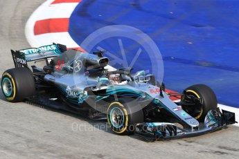 World © Octane Photographic Ltd. Formula 1 – Singapore GP – Practice 1. Mercedes AMG Petronas Motorsport AMG F1 W09 EQ Power+ - Lewis Hamilton. Marina Bay Street Circuit, Singapore. Friday 14th September 2018.