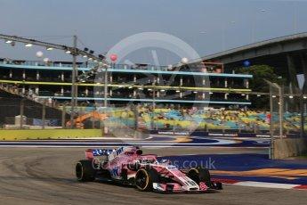 World © Octane Photographic Ltd. Formula 1 – Singapore GP - Practice 1. Racing Point Force India VJM11 - Sergio Perez. Marina Bay Street Circuit, Singapore. Friday 14th September 2018.