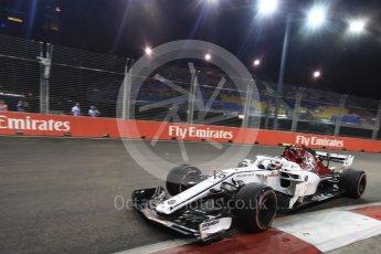 World © Octane Photographic Ltd. Formula 1 – Singapore GP - Practice 2. Alfa Romeo Sauber F1 Team C37 – Charles Leclerc. Marina Bay Street Circuit, Singapore. Friday 14th September 2018.