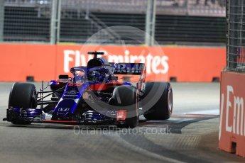 World © Octane Photographic Ltd. Formula 1 – Singapore GP - Qualifying. Scuderia Toro Rosso STR13 – Brendon Hartley. Marina Bay Street Circuit, Singapore. Saturday 15th September 2018.