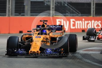 World © Octane Photographic Ltd. Formula 1 – Singapore GP - Qualifying. McLaren MCL33 – Fernando Alonso. Marina Bay Street Circuit, Singapore. Saturday 15th September 2018.