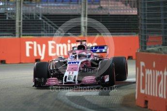 World © Octane Photographic Ltd. Formula 1 – Singapore GP - Qualifying. Racing Point Force India VJM11 - Sergio Perez. Marina Bay Street Circuit, Singapore. Saturday 15th September 2018.